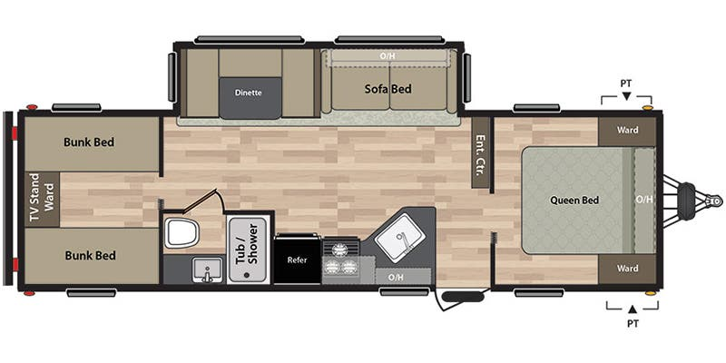 layout of bunkhouse trailer